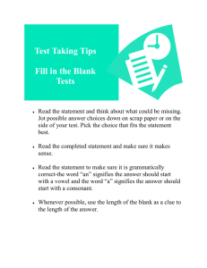 Tips for Fill in the Blank Tests