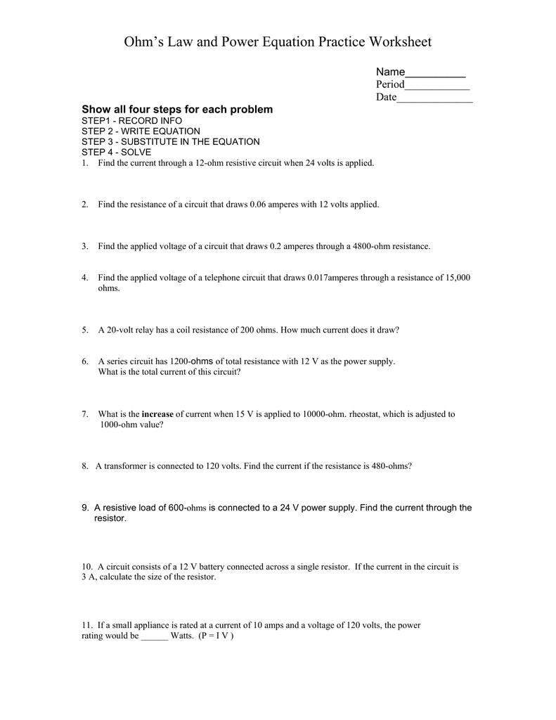 Ohm`s Law and Power Equation Practice Worksheet