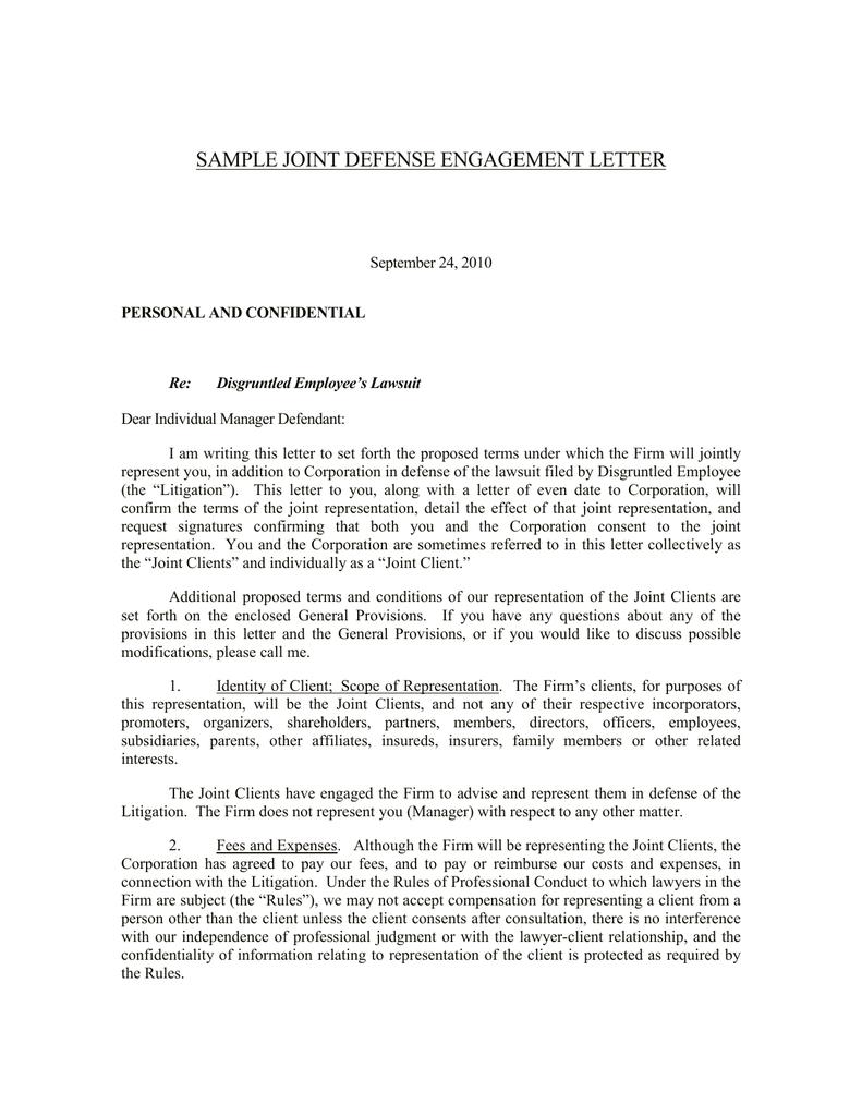 Sample Joint Defense Engagement Letter