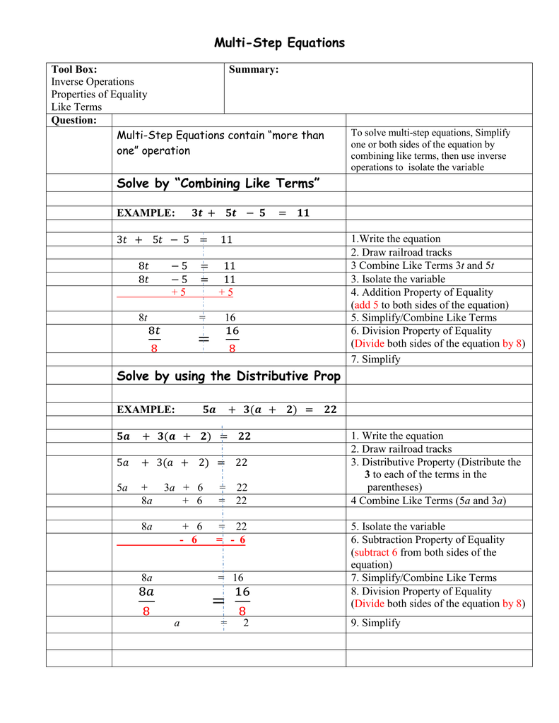 """Multi-Step Equations Solve by """"Combining Like Terms"""" Solve by"""