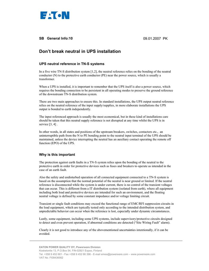 Don`t break neutral in UPS installation