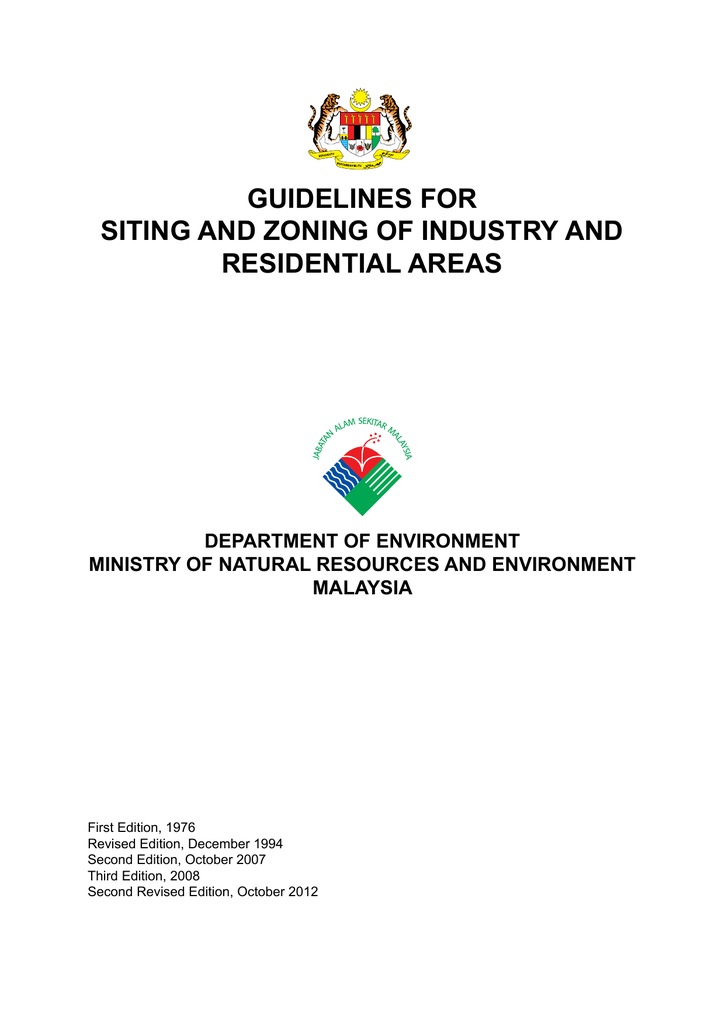Guidelines For Siting And Zoning Of Industry And Residential Areas