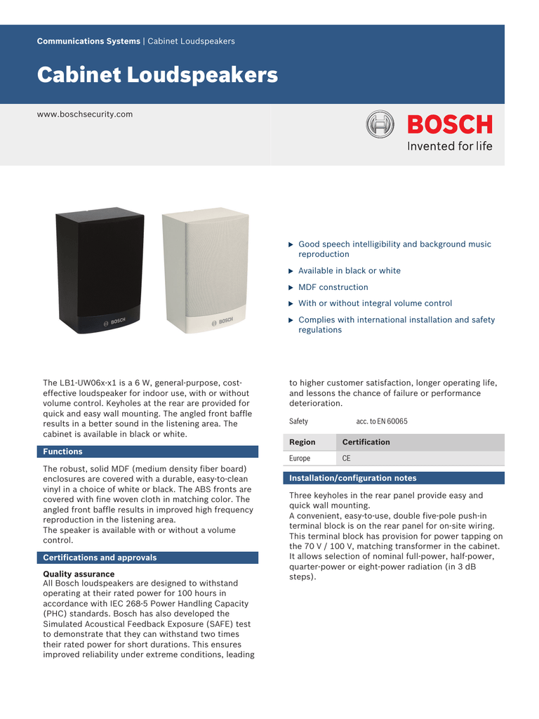 Cabinet Loudspeakers - Bosch Security Systems