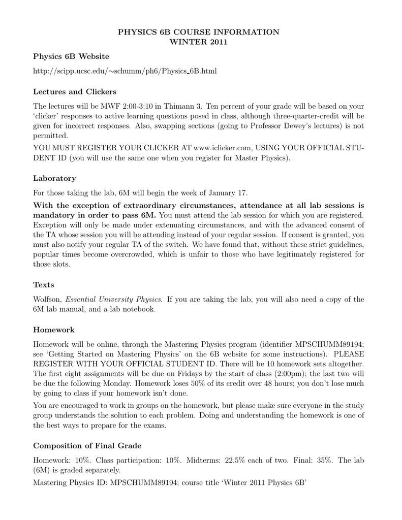 physics 6b course information winter 2011 rh studylib net Organic Chemistry Physics Lab Report