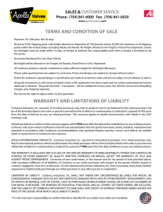 terms and condition of sale warranty and limitations
