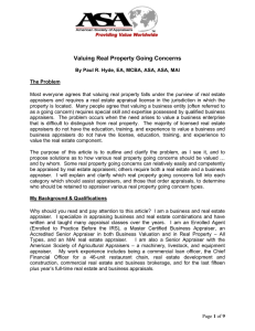 Valuing Real Property Going Concerns