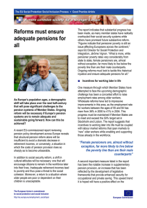 Reforms must ensure adequate pensions for all