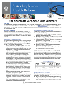 The Affordable Care Act: A Brief Summary