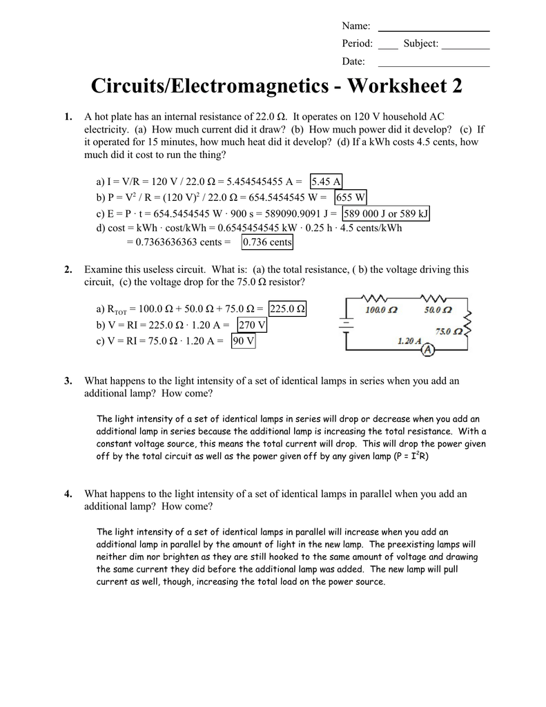 Key Circuits 2 Parallel Circuit Resistance As Well Series And