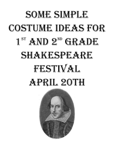 Some simple costume ideas for 1st and 2nd grade shakespeare