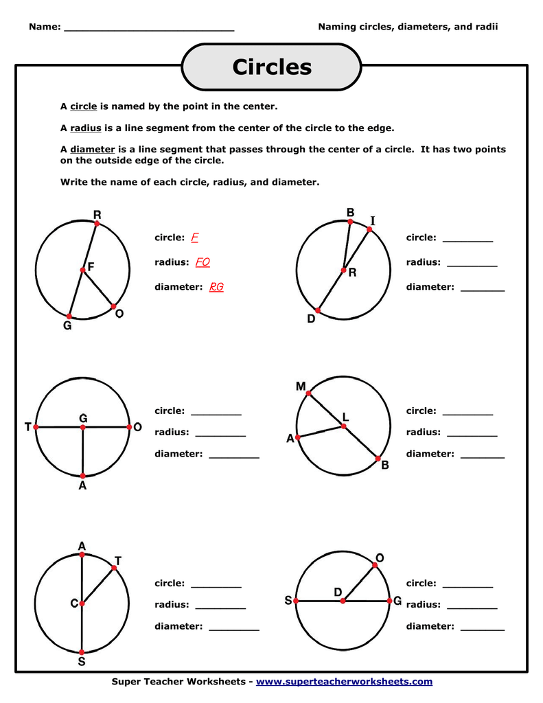 Worksheets Radius And Diameter Worksheets naming circle radius diameter