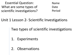 Unit 1 Lesson 2- Scientific Investigations