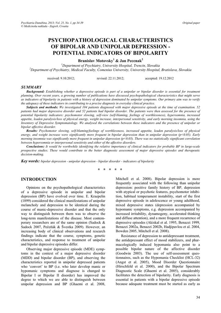 Psychopathological Characteristics Of Bipolar And Unipolar Depression