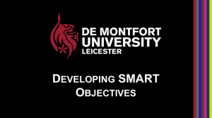 DEVELOPING SMART OBJECTIVES