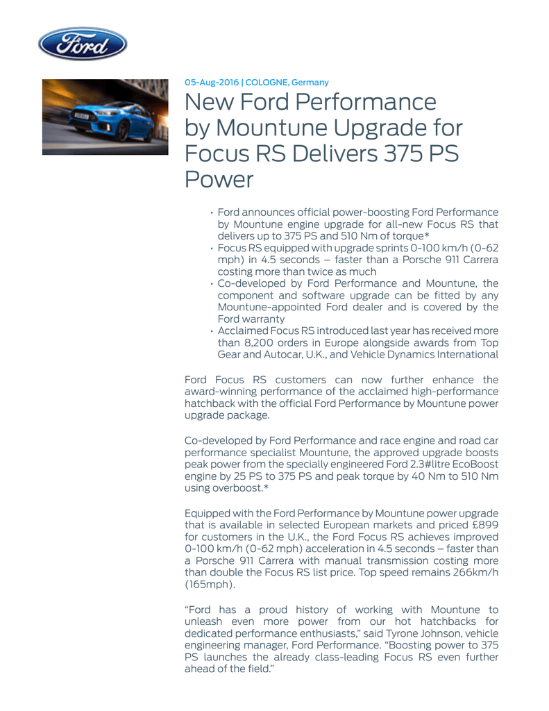 New Ford Performance By Mountune Upgrade For Focus Rs 2 3 Engine Diagram