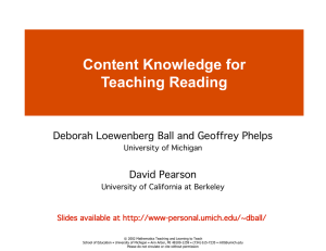 Content Knowledge for Teaching Reading