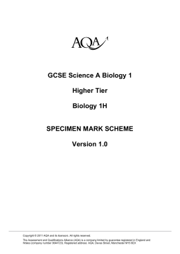 Biology: Specimen mark scheme