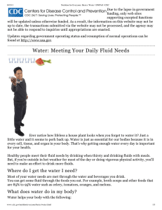 Water: Meeting Your Daily Fluid Needs