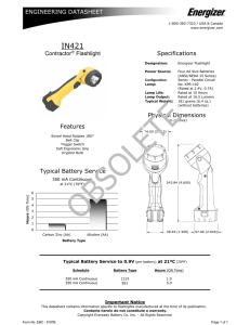 Contractor® Flashlight Specifications Features Typical Battery