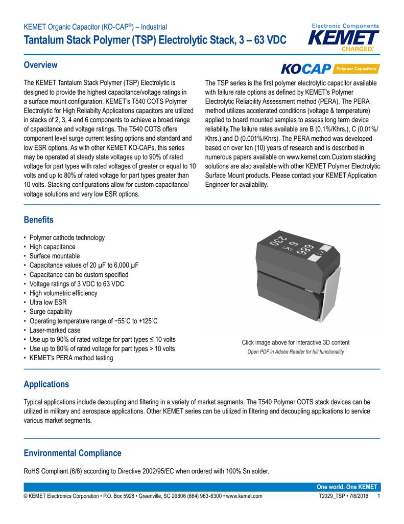 Tantalum Stack Polymer Tsp Electrolytic 3 63 Vdc Multiple Anode Capacitor