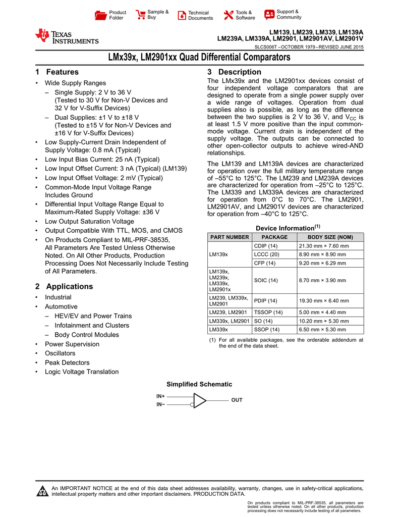 Lm139 Lm239 Lm339 Lm2901 Quad Differential Comparators Circuit Diagram