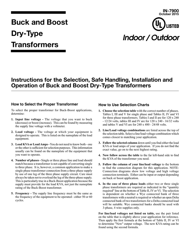 Buck and Boost Dry-Type Transformers Indoor / Outdoor  Wire Bucking Transformer Wiring Diagram on