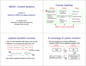 ME451: Control Systems Course roadmap Laplace transform (review)