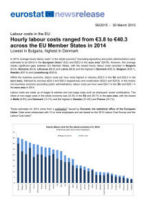 Hourly labour costs ranged from €3.8 to €40.3 across the EU