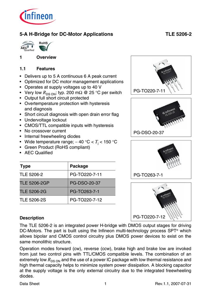 5 a h bridge for dc motor applications tle 5206 2Tle5206 2 H Bridge Circuit Application And Datasheet #5