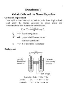 Experiment V Voltaic Cells and the Nernst Equation