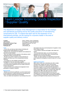 Team Leader Incoming Goods Inspection / Supplier Quality