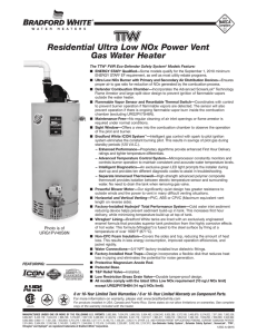 Residential Ultra Low NOx Power Vent Gas Water