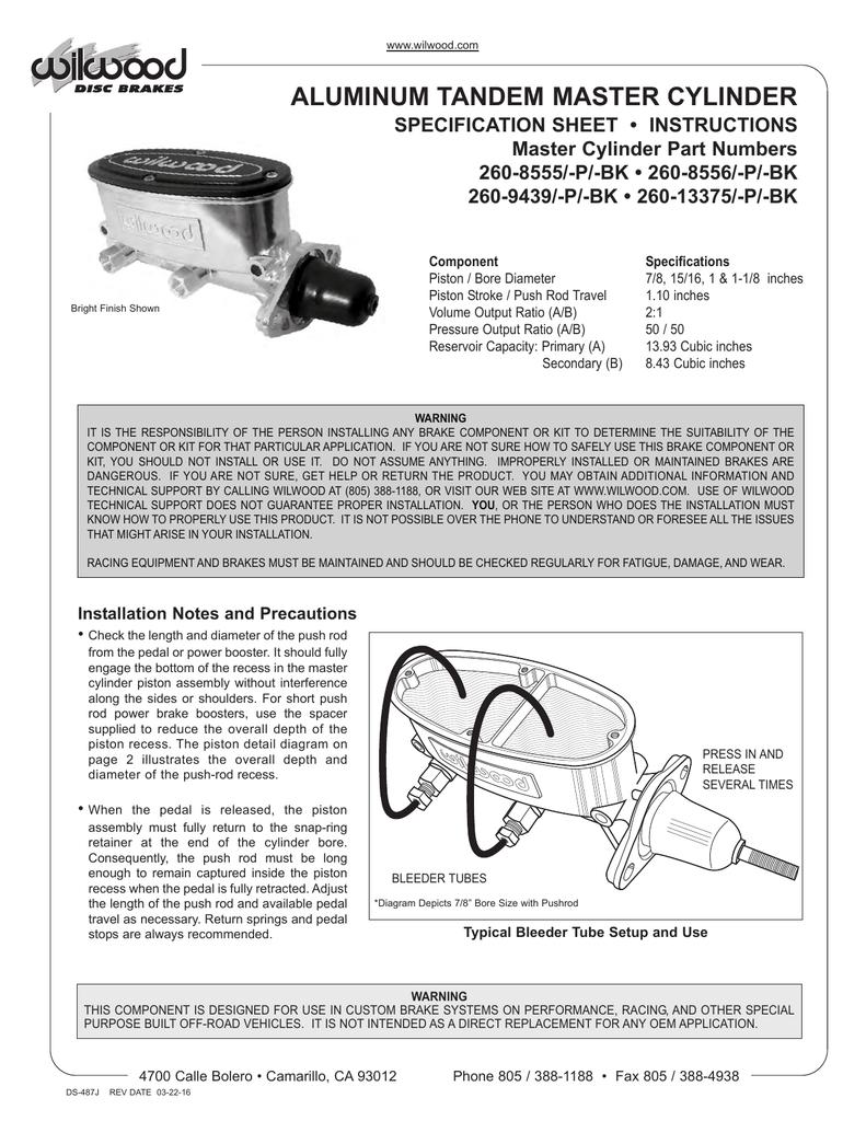Wilwood 260-8556-P 1.12 Bore Aluminum Tandem Master Cylinder