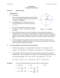 Trigonometry Chapter 3 Lecture Notes Section 3.1 Radian Measure