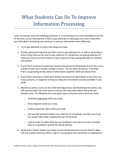What Students Can Do To Improve Information Processing