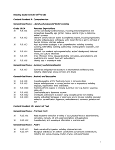 Reading Goals by Skills-10th Grade Content Standard 9
