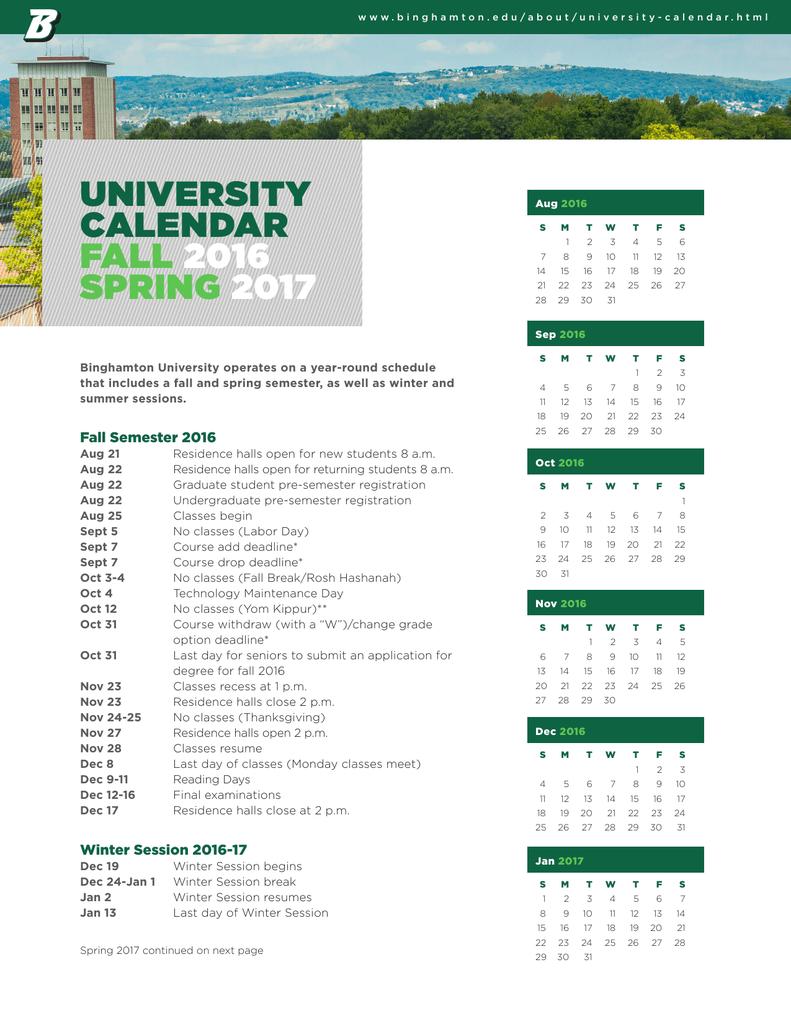 Binghamton University Calendar 2021 university calendar fall 2016 spring 2017