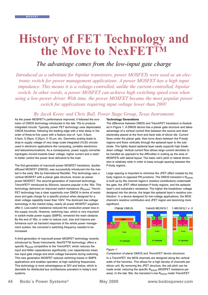 History of FET technology and the move to