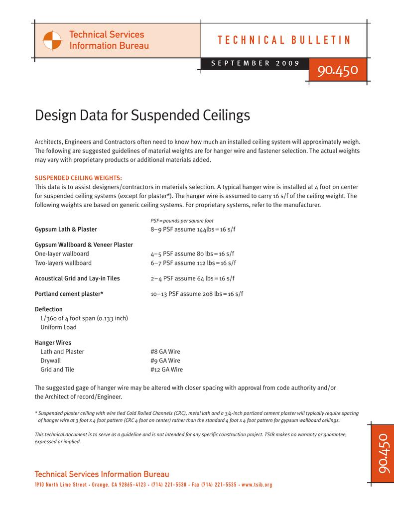 90-450 Design Data Suspended Ceilings