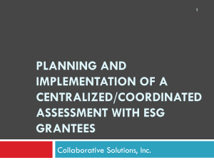 planning and implementation of a centralized/coordinated