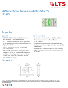 LED Exit w/Battery Backup Green Letters 120/277V Dimensions