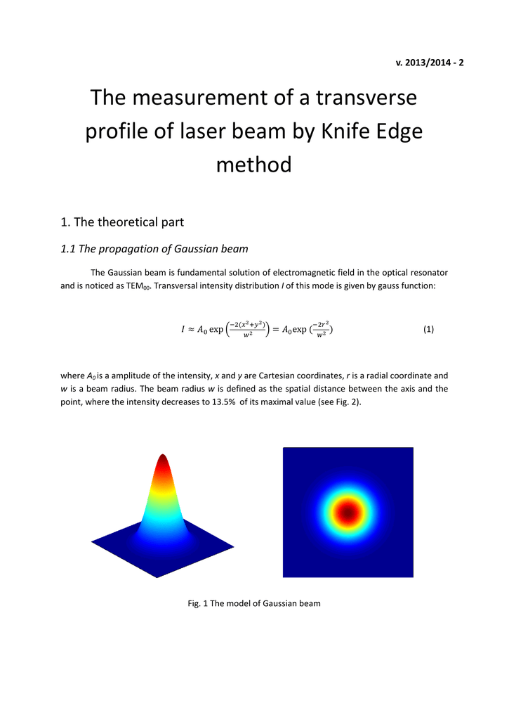 The measurement of a transverse profile of laser beam by Knife