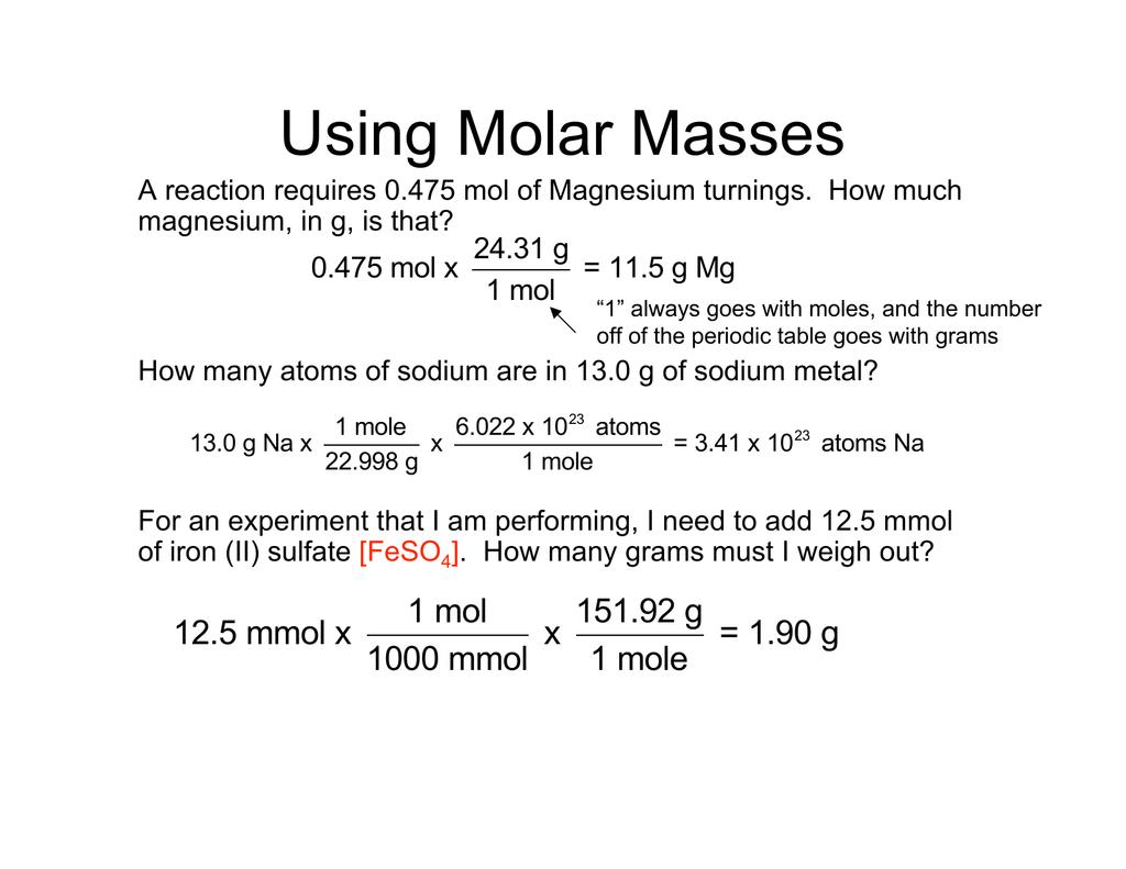 Using Molar Masses