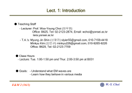 Lect. 1: Introduction