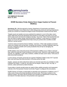 DCNR Secretary Cindy Adams Dunn Urges Caution to Prevent