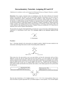 Stereochemistry Tutorials: Assigning R/S and E/Z