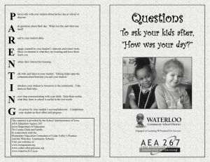Questions to Ask Your Children - Waterloo Community School District