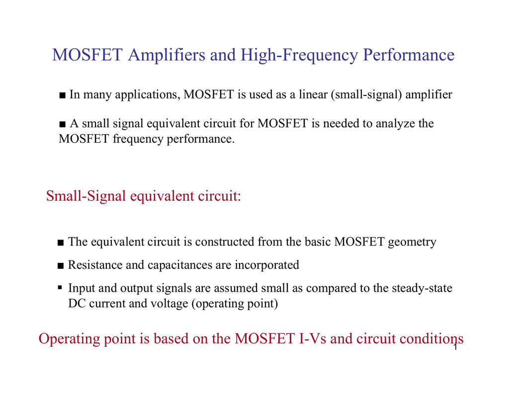 Mosfet Amplifier Circuits
