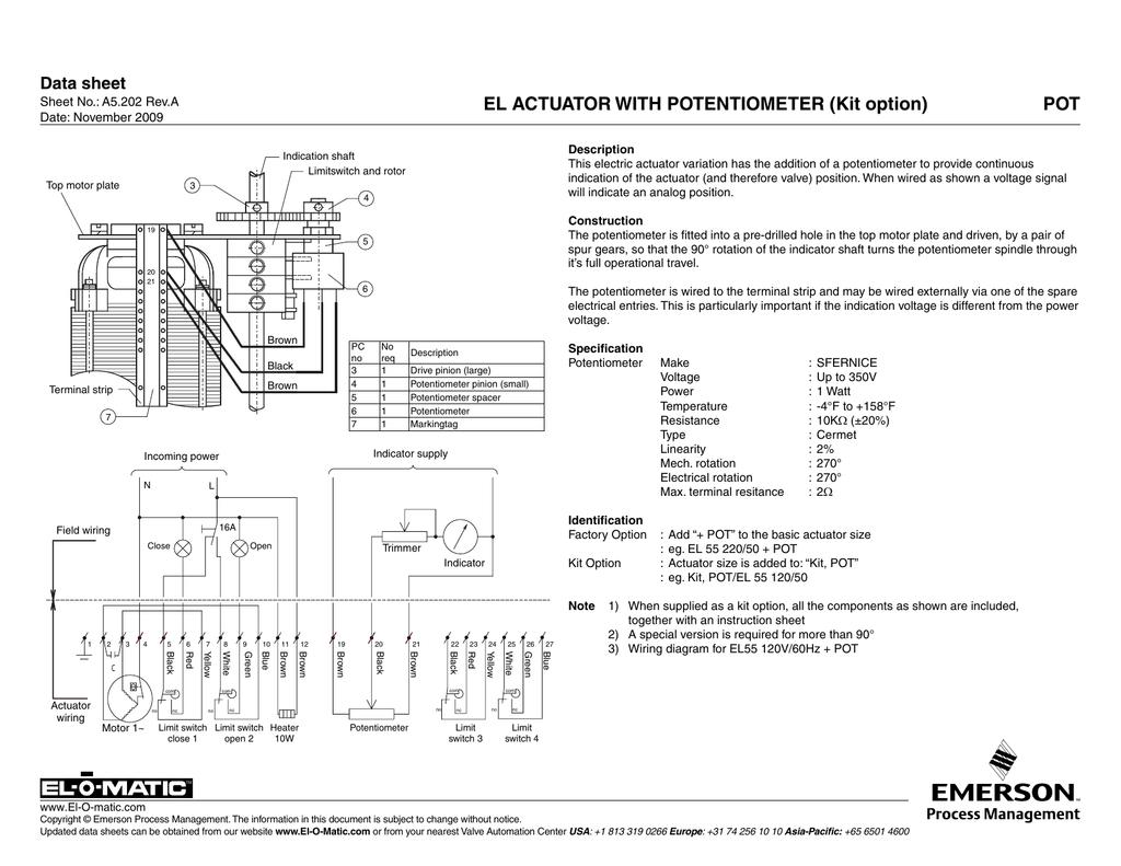 El Actuator With Potentiometer Kit Option Pot Linear Wiring Diagram