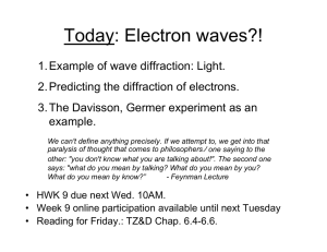 Today: Electron waves?! - University of Colorado Boulder
